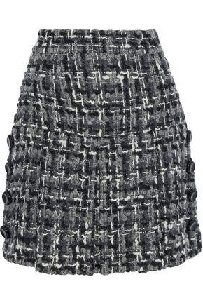 DOLCE & GABBANA Button-embellished wool-blend bouclé-tweed mini skirt