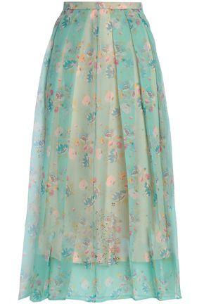 CHRISTOPHER KANE Floral-print silk-organza midi skirt