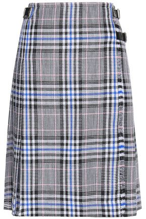 CHRISTOPHER KANE Leather-trimmed checked cotton-blend wrap skirt