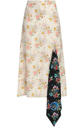 CHRISTOPHER KANE Crystal-embellished floral-print appliquéd crepe midi skirt