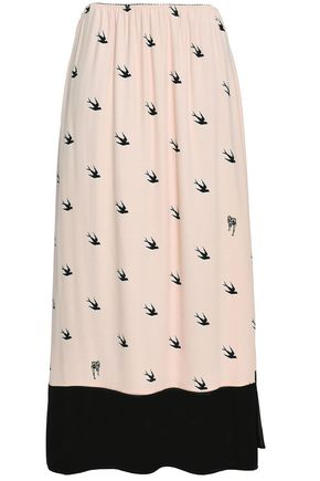 McQ Alexander McQueen Printed crepe midi skirt