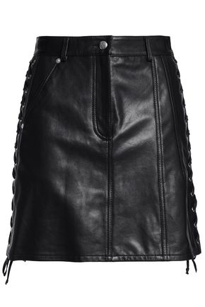 McQ Alexander McQueen Lace-up leather mini skirt