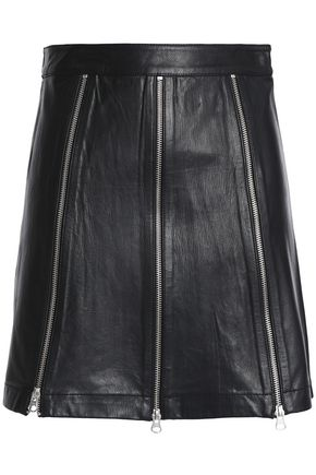 McQ Alexander McQueen Zip-detailed leather mini skirt