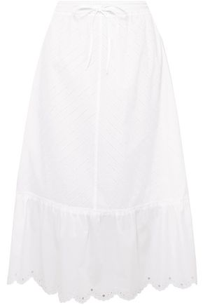 McQ Alexander McQueen Broderie anglaise cotton midi skirt