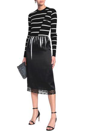 McQ Alexander McQueen Lace-trimmed silk-satin skirt