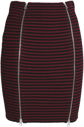 McQ Alexander McQueen Zip-detailed striped ribbed-knit mini skirt