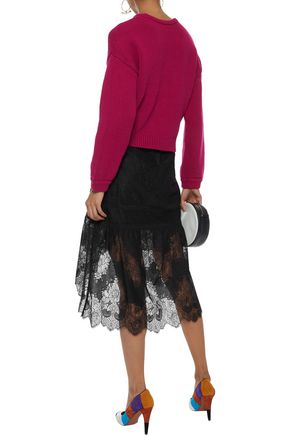 ALICE + OLIVIA Triss fluted lace skirt