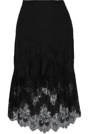ALICE + OLIVIA JEANS Triss fluted lace skirt
