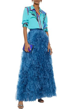 ALICE + OLIVIA Ruffled silk-organza maxi skirt
