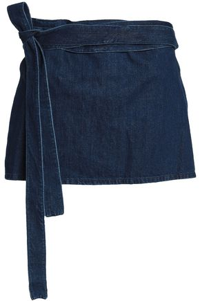 J.W.ANDERSON Leather-paneled denim mini skirt