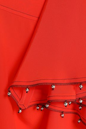 SONIA RYKIEL Asymmetric bead-embellished silk crepe de chine skirt