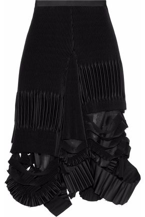 MAISON MARGIELA Distressed plissé-satin midi skirt
