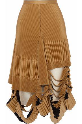 MAISON MARGIELA Distressed plissé-satin midi skirt