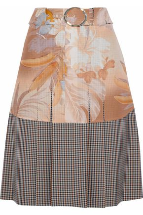 MAISON MARGIELA Floral-print crepe de chine-appliquéd checked wool-blend skirt