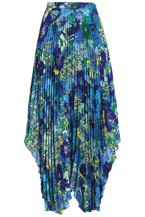 PRINGLE OF SCOTLAND Pleated floral-print crepe de chine midi skirt