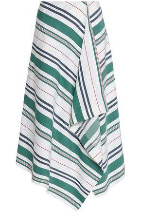 PRINGLE OF SCOTLAND Draped striped linen and silk-blend midi skirt