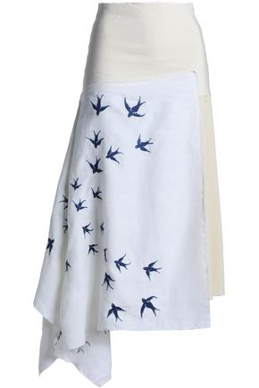 J.W.ANDERSON Asymmetric embroidered linen and crepe midi skirt