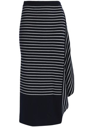 J.W.ANDERSON Draped striped wool midi skirt