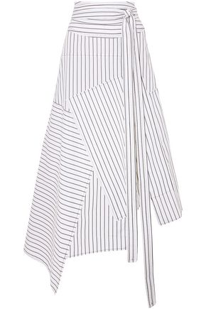 J.W.ANDERSON Asymmetric striped cotton-poplin midi skirt