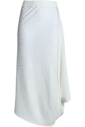 J.W.ANDERSON Draped ribbed two-tone linen midi skirt