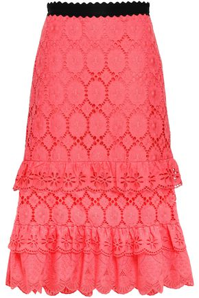 PERSEVERANCE Tiered broderie anglaise cotton midi skirt
