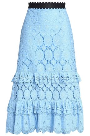 PERSEVERANCE Broderie anglaise tiered cotton midi skirt