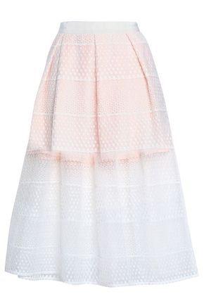 PERSEVERANCE Pleated embroidered organza midi skirt