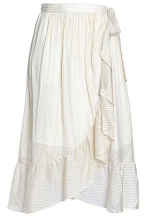 PERSEVERANCE Wrap-effect ruffled silk-blend jacquard midi skirt
