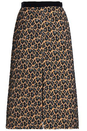 PERSEVERANCE Leopard-print brocade midi skirt