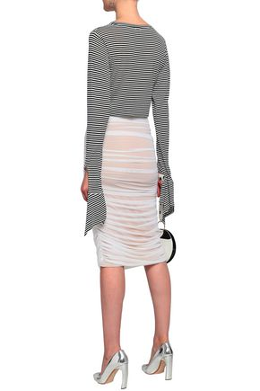 NORMA KAMALI Ruched stretch-mesh pencil skirt