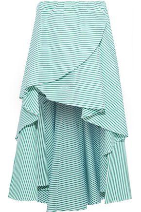 CAROLINE CONSTAS ラッフル付き ストライプ コットンポプリン ミニスカート