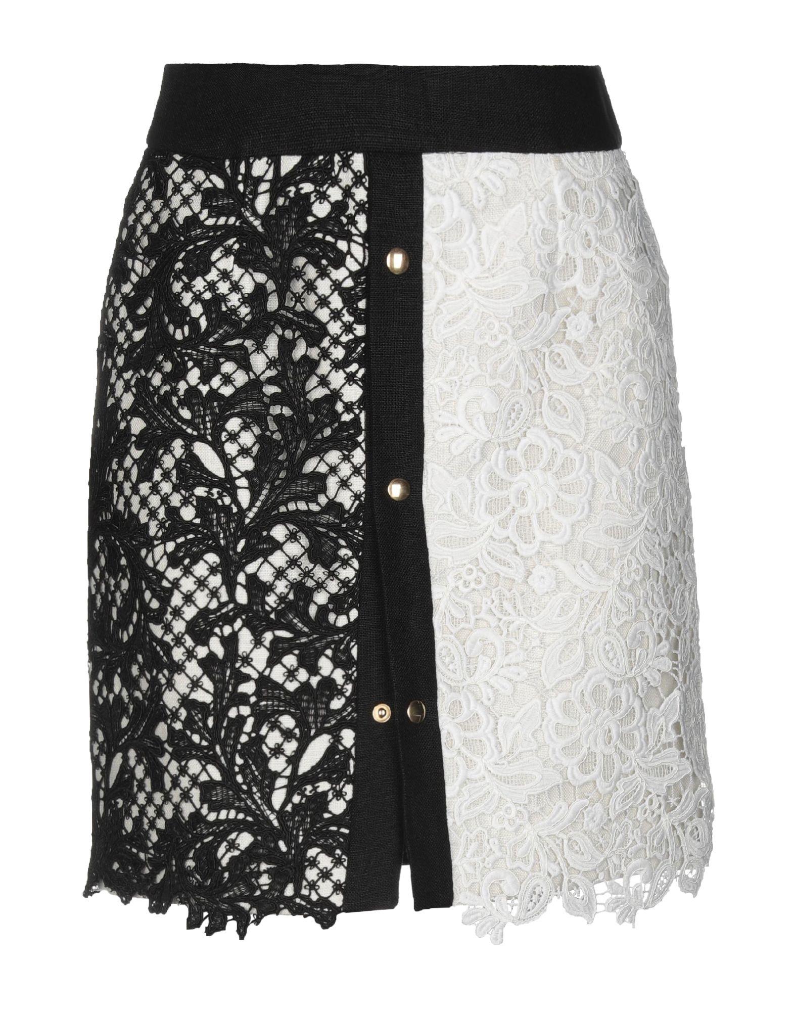 《セール開催中》FAUSTO PUGLISI レディース ひざ丈スカート ブラック 40 麻 100% / ポリエステル