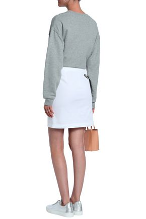 LOVE MOSCHINO Embroidered stretch-cotton and linen-blend mini skirt