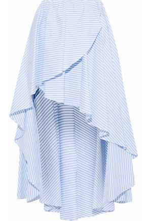 CAROLINE CONSTAS Adelle asymmetric striped cotton-poplin skirt