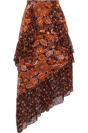 ANNA SUI Printed fil coupé and silk-chiffon skirt
