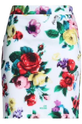 LOVE MOSCHINO Floral-print stretch-cotton mini skirt