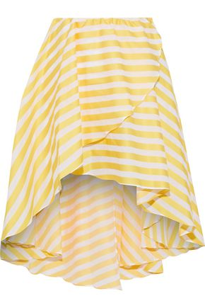 CAROLINE CONSTAS Adelle asymmetric striped cotton-twill mini skirt