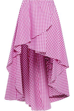 CAROLINE CONSTAS Adelle asymmetric gingham cotton-poplin mini skirt