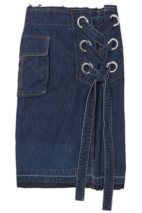 SACAI Lace-up frayed denim skirt