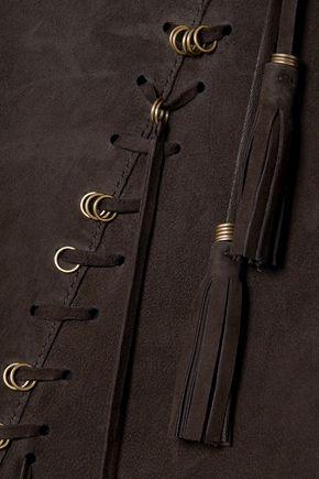 CHLOÉ Tassel-trimmed suede midi skirt
