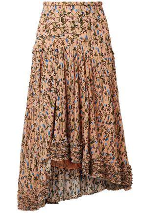 CHLOÉ Asymmetric printed crepe midi skirt