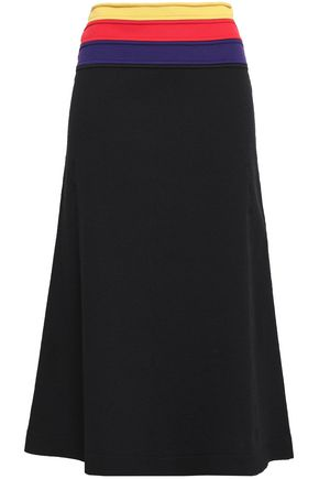SONIA RYKIEL Striped stretch-knit midi skirt
