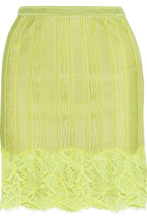 ROBERTO CAVALLI Corded lace-appliquéd stretch-knit mini skirt