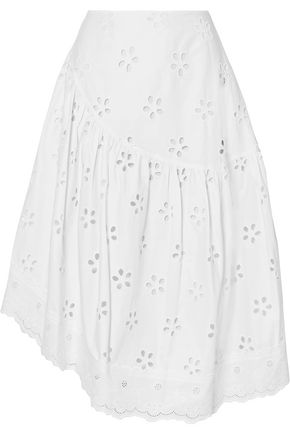 SIMONE ROCHA Asymmetric broderie anglaise cotton skirt
