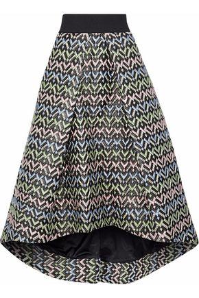 MILLY Pleated brocade midi skirt