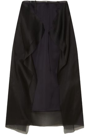 MAISON MARGIELA Ruffled satin and silk-organza midi skirt