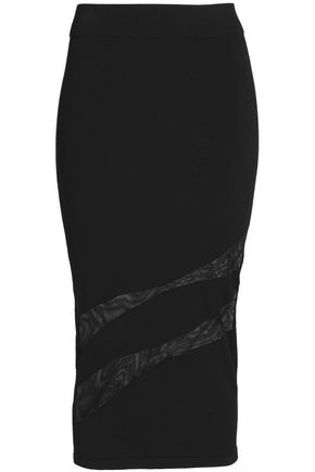 CUSHNIE ET OCHS Mesh-paneled stretch-knit pencil skirt