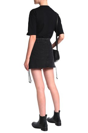 McQ Alexander McQueen Lace-up denim mini skirt