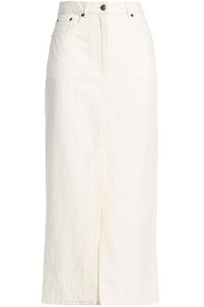 McQ Alexander McQueen Lace-up cotton and linen-blend twill midi skirt