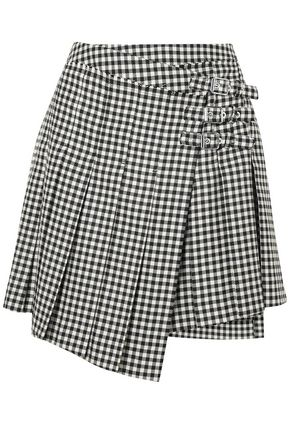 McQ Alexander McQueen Pleated gingham wool-twill mini wrap skirt